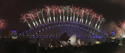 <div class='meta'><div class='origin-logo' data-origin='AP'></div><span class='caption-text' data-credit='AP Photo/Rick Rycroft'>Fireworks explode over the Sydney Opera House and Harbour Bridge as New Year's celebrations are underway in Sydney, Australia, Sunday, Jan. 1, 2017.</span></div>