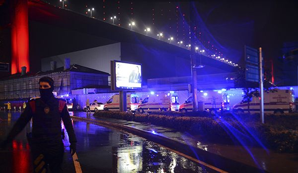 <div class='meta'><div class='origin-logo' data-origin='AP'></div><span class='caption-text' data-credit='IHA via AP'>Medics and security officials work at the scene after an attack at a popular nightclub in Istanbul, early Sunday, Jan. 1, 2017.</span></div>