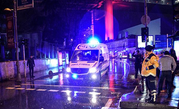 <div class='meta'><div class='origin-logo' data-origin='AP'></div><span class='caption-text' data-credit='IHA via AP'>Ambulances rushing away from the scene of an attack in Istanbul, early Sunday, Jan. 1, 2017.</span></div>