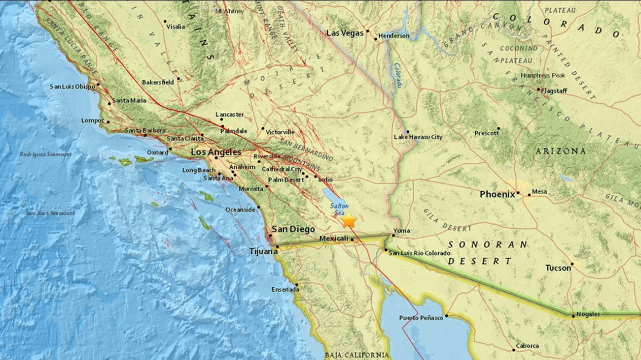 A swarm of more than 100 small earthquakes hit near Brawley, Calif., on Saturday, Dec. 31, 2016, according to the California Institute of Technology.