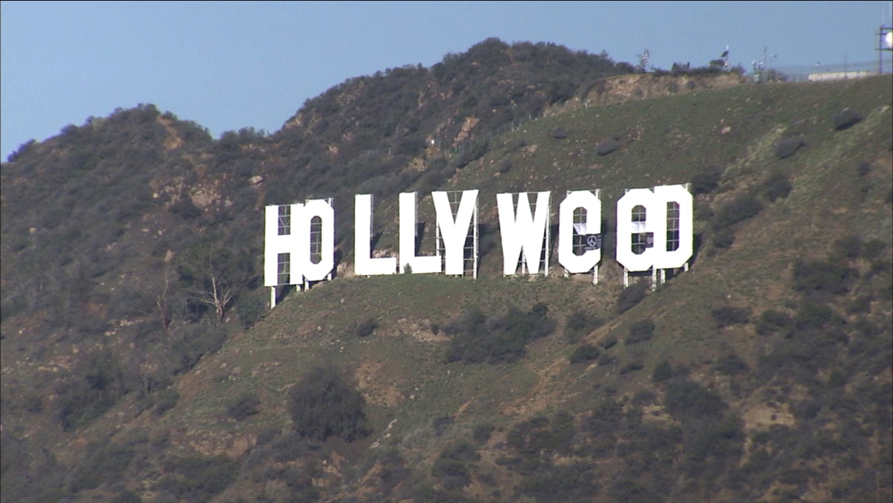 "The altered Hollywood sign reads ""Hollyweed"" on Sunday, Jan. 1, 2017."
