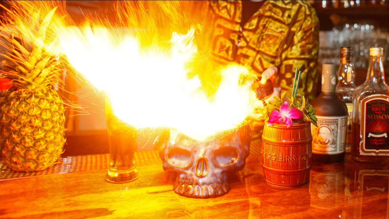A file photo of a flaming alcoholic beverage.