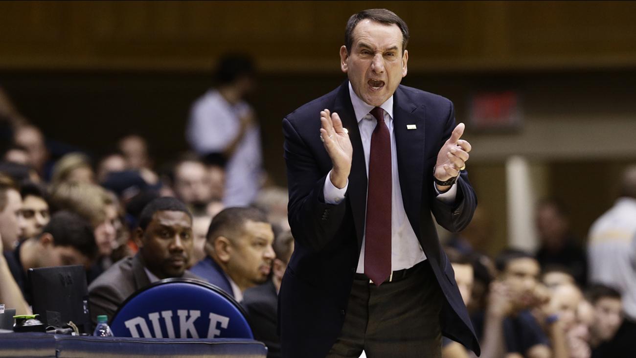Duke coach Mike Krzyzewski reacts during a basketball game in Durham, N.C.