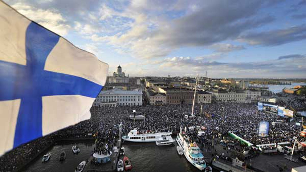 Over 90,000 thousand people celebrate Team Finland, ice hockey world champions 2011, in the Market Square in Helsinki, Finland, Monday May 16, 2011.