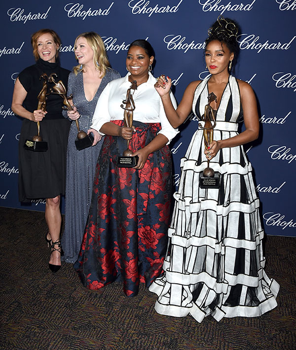 "<div class=""meta image-caption""><div class=""origin-logo origin-image none""><span>none</span></div><span class=""caption-text"">Members of the cast of ''Hidden Figures'' Kimberly Quinn, from left, Kirsten Dunst, Octavia Spencer and Janelle Monae pose backstage with the ensemble performance award. (Jordan Strauss/Invision/AP)</span></div>"