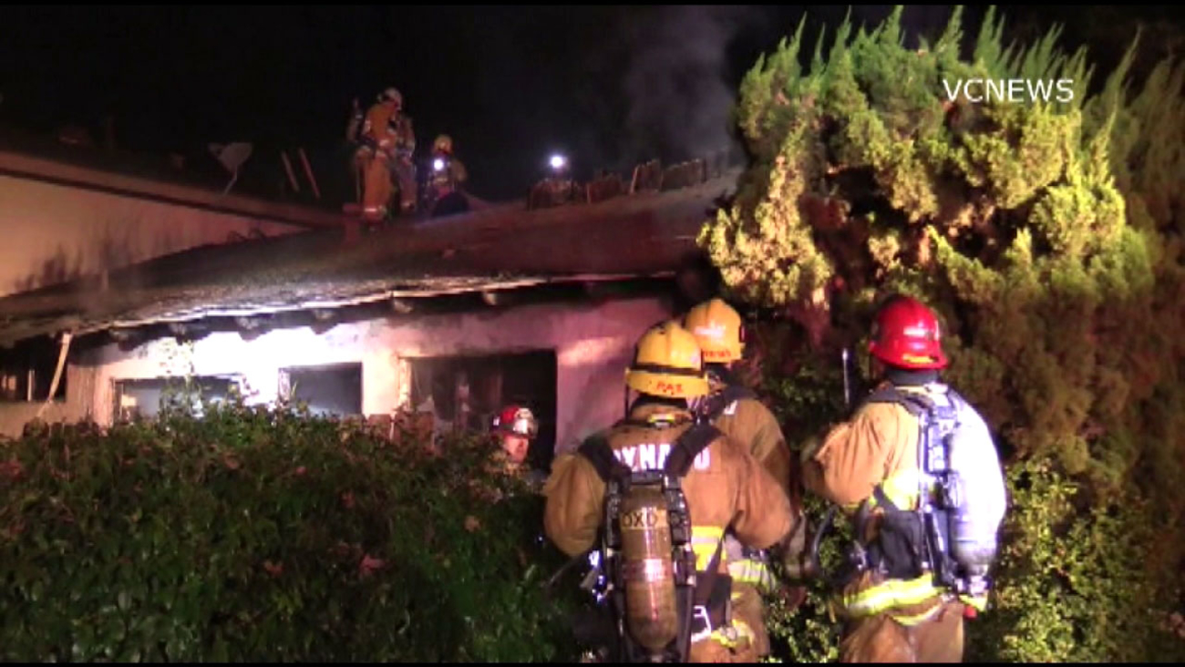 Fire crews at the scene of a suspicious apartment fire in Oxnard on Tuesday, Jan. 3, 2017.