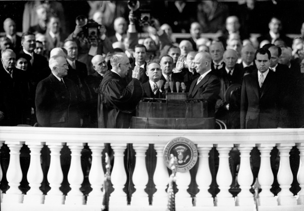 <div class='meta'><div class='origin-logo' data-origin='AP'></div><span class='caption-text' data-credit='AP Photo'>Dwight D. Eisenhower is inaugurated as President as U.S. Chief Justice Fred Vinson administers the oath of office during the capitol ceremony in Washington D.C. on Jan. 20, 1953.</span></div>