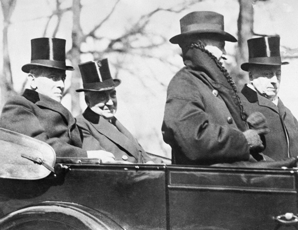 <div class='meta'><div class='origin-logo' data-origin='AP'></div><span class='caption-text' data-credit='AP Photo'>The retiring 28th President Woodrow Wilson, rides with his successor, Warren Gamaliel Harding, to the latter's inauguration, March 4, 1921.</span></div>