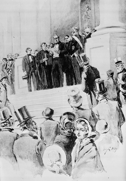 <div class='meta'><div class='origin-logo' data-origin='AP'></div><span class='caption-text' data-credit='AP Photo'>President James Buchanan delivers his address after being sworn in as the 15th president of the United States in front of the Capitol in Washington, D.C., March 4, 1857.</span></div>