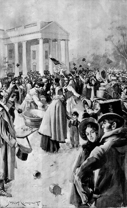 <div class='meta'><div class='origin-logo' data-origin='AP'></div><span class='caption-text' data-credit='AP Photo'>This artist's rendition shows the crush of people after President Andrew Jackson's inaugural ceremony in Washington, D.C., on March 4, 1829.</span></div>