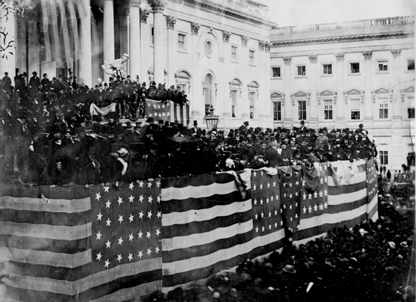 <div class='meta'><div class='origin-logo' data-origin='AP'></div><span class='caption-text' data-credit='AP Photo'>The public inauguration of Rutherford B. Hayes takes place in front of the U.S. Capitol on the East Portico in Washington, D.C., on March 5, 1877.</span></div>