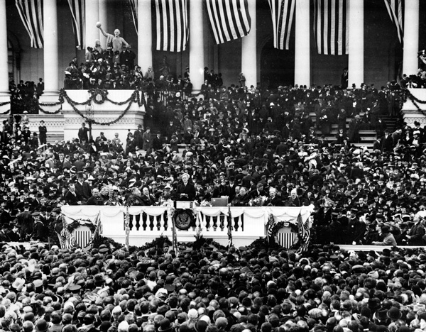 <div class='meta'><div class='origin-logo' data-origin='AP'></div><span class='caption-text' data-credit='AP Photo'>This general view shows the second inauguration of President Woodrow Wilson as he delivers his inaugural address in Washington, D.C., on March 5, 1917.</span></div>
