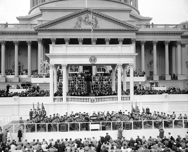 <div class='meta'><div class='origin-logo' data-origin='none'></div><span class='caption-text' data-credit='AP Photo'>President Dwight Eisenhower delivered his inaugural address after being sworn in for second term in public ceremonies at the Capitol in Washington, Jan. 21, 1957.</span></div>