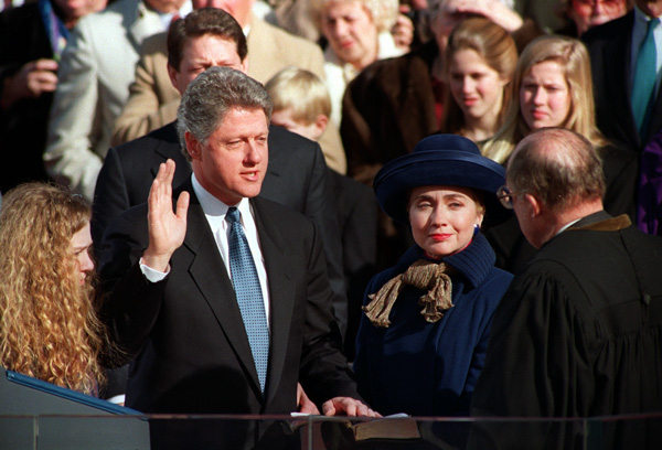 <div class='meta'><div class='origin-logo' data-origin='none'></div><span class='caption-text' data-credit='Ed Reinke/AP Photo'>William Jefferson &#34;Bill&#34; Clinton takes the oath of office as 42nd president of the United States from Chief Justice William H. Rehnquist in Washington Wednesday, Jan. 20, 1993.</span></div>