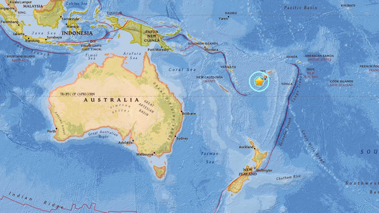 A 7.2-magnitude earthquake struck Nadi, Fiji, on Tuesday, Jan. 3, 2017, according to the USGS.