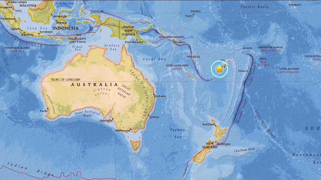 A 7.2-magnitude earthquake struck Nadi, Fiji, on Tuesday, Jan. 3, 2017, according to the USGS.