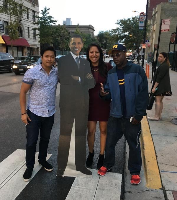 "<div class=""meta image-caption""><div class=""origin-logo origin-image none""><span>none</span></div><span class=""caption-text"">#BarackingAround with new friends in Chicago. (Ximena N. Larkin)</span></div>"