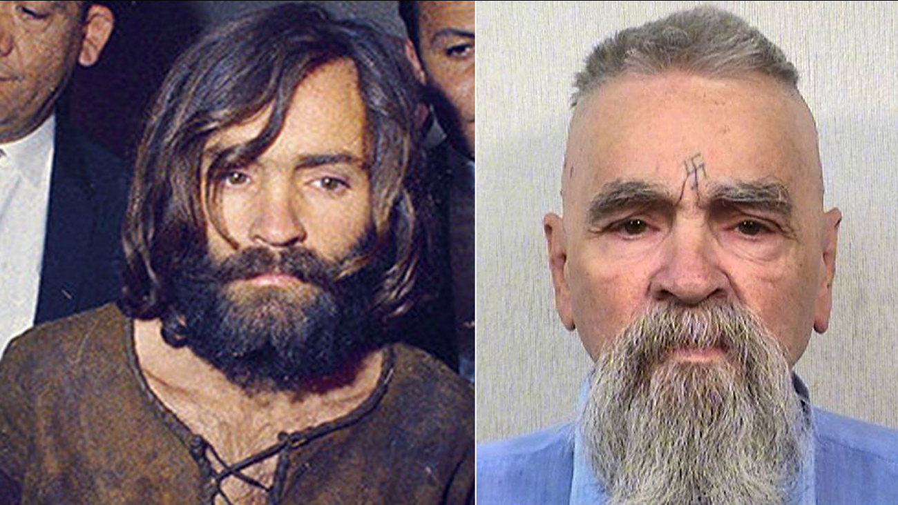 Charles Manson, escorted by police in December 1969 (left) and in an Oct. 8, 2014 prison photo.
