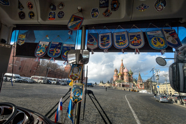 "<div class=""meta image-caption""><div class=""origin-logo origin-image none""><span>none</span></div><span class=""caption-text"">A view of Saint Basil's Cathedral in Red Square is seen through the front window of the bus carrying Expedition 47 crew members Friday, Feb. 26, 2016, Moscow, Russia. (NASA/Bill Ingalls)</span></div>"