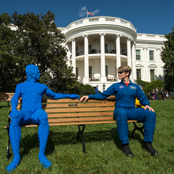 "<div class=""meta image-caption""><div class=""origin-logo origin-image none""><span>none</span></div><span class=""caption-text"">NASA astronaut Anne McClain poses for a photograph at an art installation called ""The Park People Series"" during the South by South Lawn White House festival, Monday, Oct. 3, 2016. (NASA/Bill Ingalls)</span></div>"