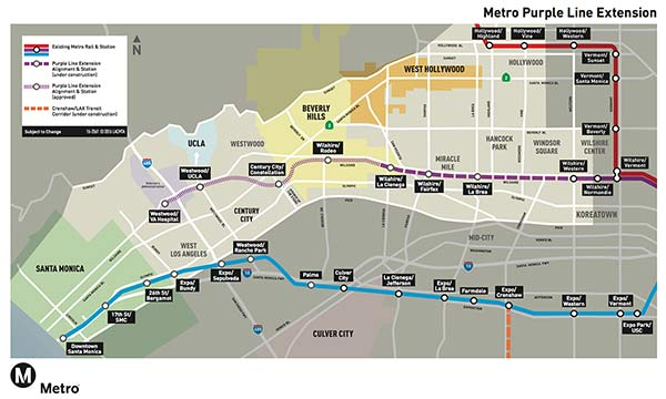 Map of Metro's Purple Line Extension.