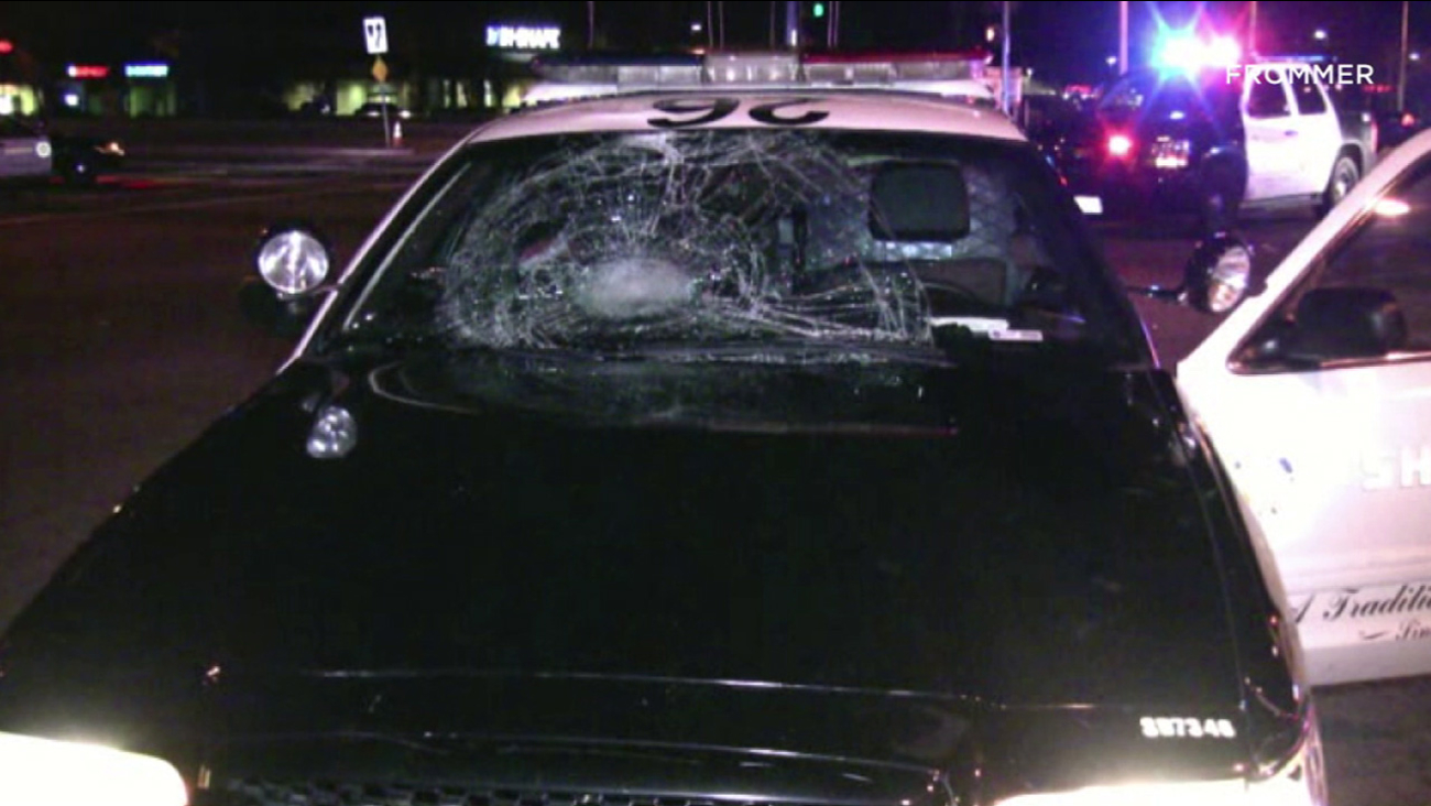 The windshield of a Los Angeles County Sheriff's Department patrol vehicle was shattered in a collision involving a bicyclist Wednesday, Jan. 4, 2017.