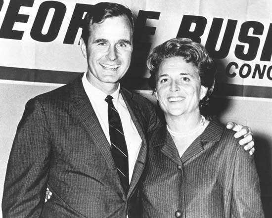 <div class='meta'><div class='origin-logo' data-origin='none'></div><span class='caption-text' data-credit='AFP/Getty Images'>George Herbert Walker Bush poses with his wife Barbara during his campaign for Congress in the 1960's.</span></div>