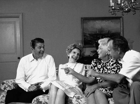 <div class='meta'><div class='origin-logo' data-origin='none'></div><span class='caption-text' data-credit='ASSOCIATED PRESS'>President Reagan shares a laugh with first lady Nancy Reagan and the Bushes at night on Wednesday, August 22, 1984 in Dallas after the Republican National Convention</span></div>