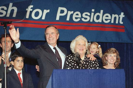 <div class='meta'><div class='origin-logo' data-origin='none'></div><span class='caption-text' data-credit='AP'>VP George Bush and wife, Barbara, wave to supporters that turned out in Houston to hear him announce he was a candidate for the Republican nomination for president on Oct. 12, 1987</span></div>