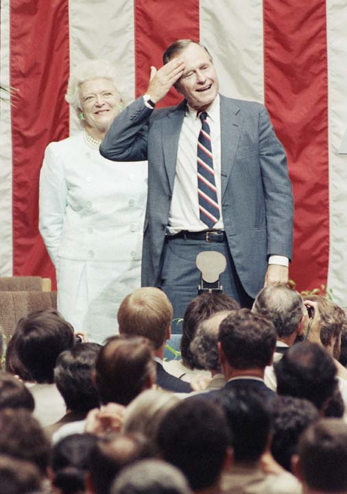 <div class='meta'><div class='origin-logo' data-origin='none'></div><span class='caption-text' data-credit='AP'>U.S. President George H. W. Bush and his wife Barbara  smile as the audience applauds after the president spoke July 12, 1989 at Karl Marx University of Economics in Budapest.</span></div>