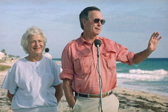 <div class='meta'><div class='origin-logo' data-origin='none'></div><span class='caption-text' data-credit='AP'>President-elect George Bush and wife Barbara during a beach front news conference, Monday, Nov. 14, 1988 in Gulf Stream, Fla.</span></div>
