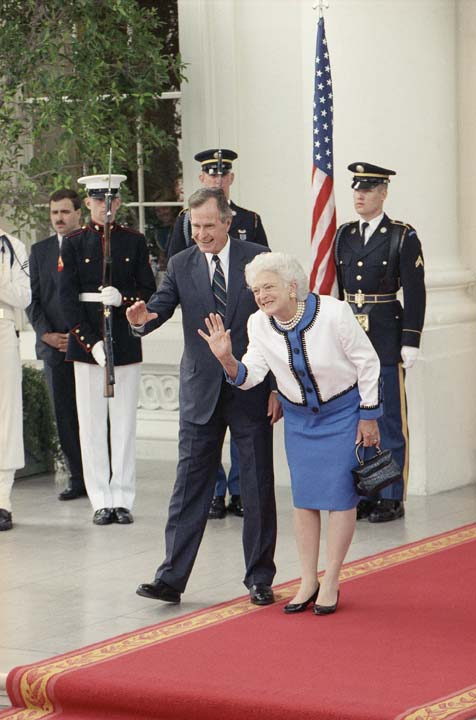 <div class='meta'><div class='origin-logo' data-origin='none'></div><span class='caption-text' data-credit='ASSOCIATED PRESS'>Pres. George H. W. Bush and Barbara Bush, center, smile and wave a final goodbye to Soviet Pres. Mikhail Gorbachev and his wife at the completion of the four-day superpower summit</span></div>