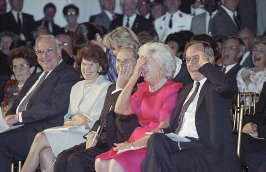 <div class='meta'><div class='origin-logo' data-origin='none'></div><span class='caption-text' data-credit='ASSOCIATED PRESS'>Pres. George H. W. Bush and First Lady Barbara Bush, and their guests, West German Chancellor Halmt Kohl and French President Francois Mitterrand at the Economic Summit, Houston</span></div>