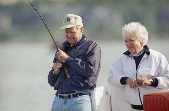 <div class='meta'><div class='origin-logo' data-origin='none'></div><span class='caption-text' data-credit='ASSOCIATED PRESS'>Barbara Bush watches as President  George H. Bush reels in a fish aboard their boat fidelity on Wednesday morning, August 7, 1991 just off shore from their vacation home</span></div>