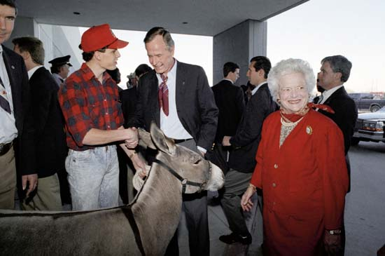 <div class='meta'><div class='origin-logo' data-origin='none'></div><span class='caption-text' data-credit='AP'>First lady Barbara Bush smiles standing by donkey as President George H.W. Bush looks on at the Houston Livestock Show and Rodeo, Feb. 28, 1992 in Houston.</span></div>