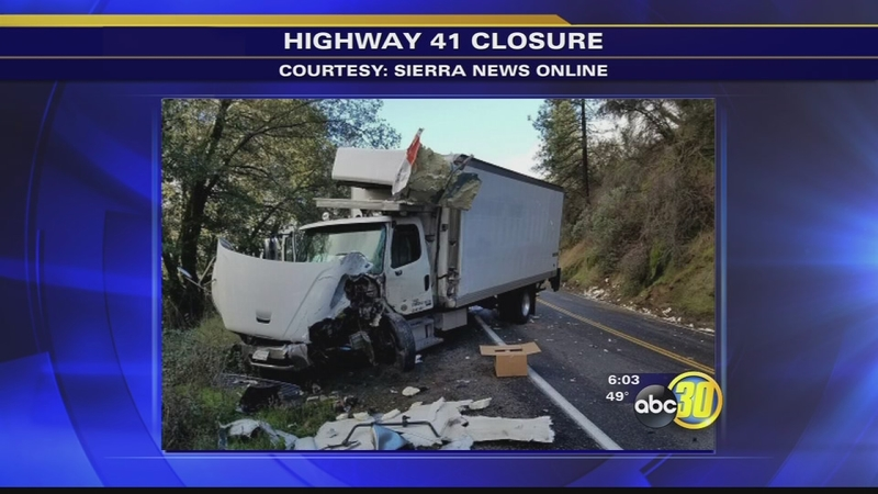 Large boulder lands on truck causing accident that shut down HWY 41