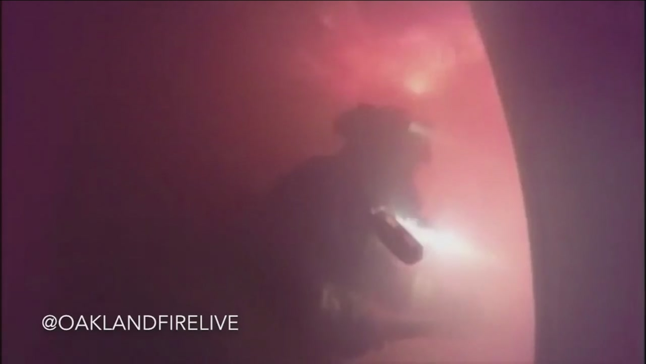 A 3-alarm fire is seen from helmet camera video in Oakland on Friday Jan. 6, 2017.