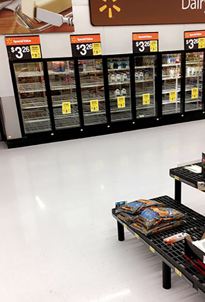 "<div class=""meta image-caption""><div class=""origin-logo origin-image wtvd""><span>WTVD</span></div><span class=""caption-text"">Empty milk shelves at Walmart in Morrisville on Friday. (Michelle - ABC11 Eyewitness)</span></div>"