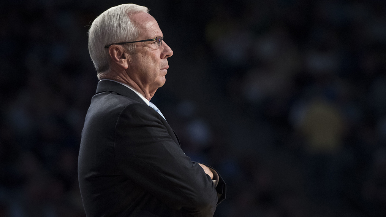 North Carolina head coach Roy Williams is shown on sideline against Georgia Tech during an NCAA college basketball game, Saturday, Dec 31, 2016, in Atlanta.