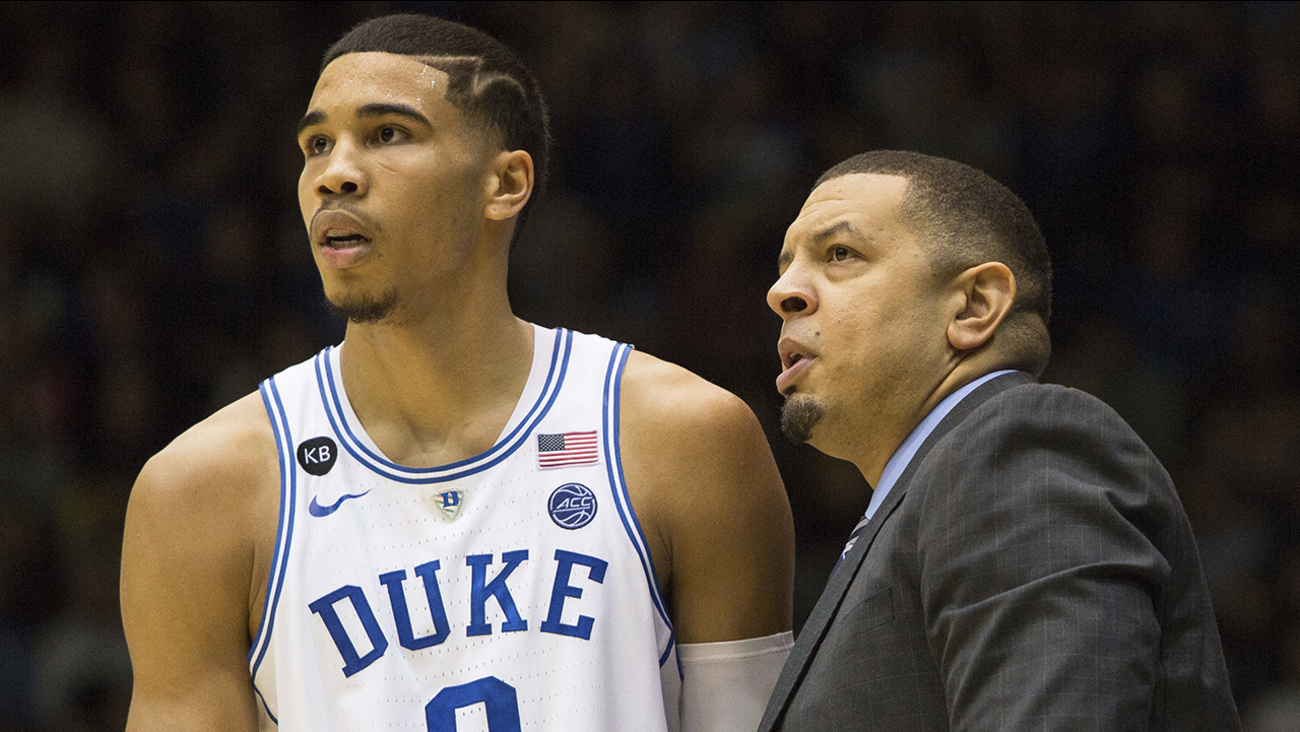 Duke assistant coach Jeff Capel, right, speaks with Duke's Jayson Tatum (0) during the second half of an NCAA college basketball game against Georgia Tech in Durham, N.C., Wednesday, Jan. 4, 2017.