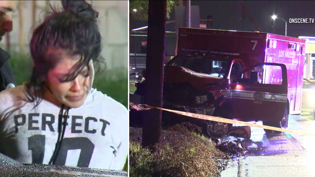 A 24-year-old woman is arrested after stealing an ambulance and crashing it into a power pole in Arleta early Saturday, Jan. 7, 2017.