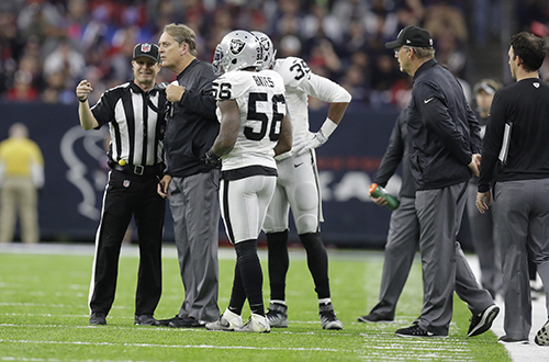 "<div class=""meta image-caption""><div class=""origin-logo origin-image ap""><span>AP</span></div><span class=""caption-text"">Oakland Raiders head coach Jack Del Rio speaks with officials during the first half of an AFC Wild Card NFL football game. (AP Photo/Eric Gay)</span></div>"