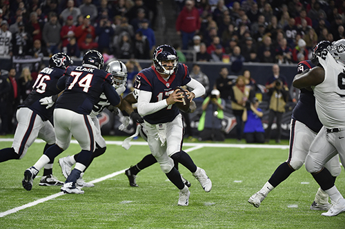 "<div class=""meta image-caption""><div class=""origin-logo origin-image ap""><span>AP</span></div><span class=""caption-text"">Houston Texans quarterback Brock Osweiler (17) works against the Oakland Raiders during the second half of an AFC Wild Card NFL game. (AP Photo/Eric Gay)</span></div>"