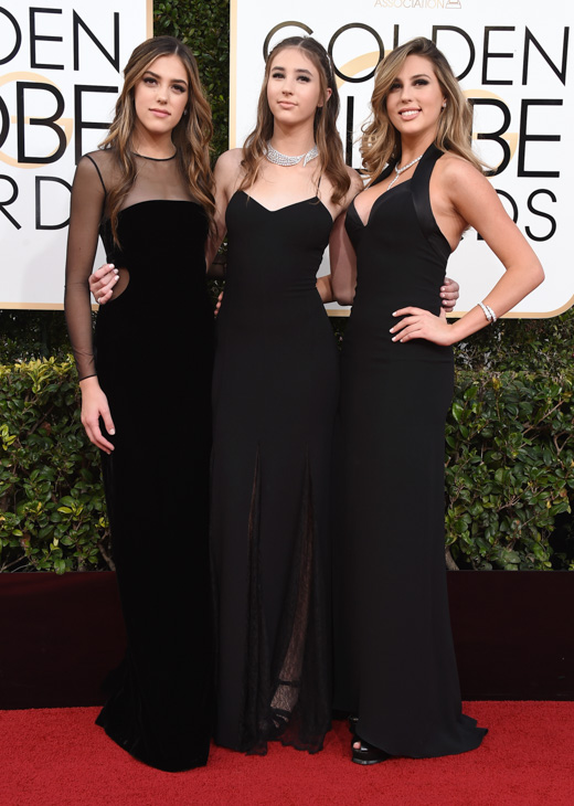 "<div class=""meta image-caption""><div class=""origin-logo origin-image none""><span>none</span></div><span class=""caption-text"">Miss Golden Globes, Sistine Stallone, from left, Scarlet Stallone and Sophia Stallone arrive at the 74th annual Golden Globe Awards. (Jordan Strauss/Invision/AP)</span></div>"
