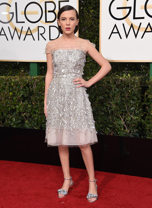 <div class='meta'><div class='origin-logo' data-origin='none'></div><span class='caption-text' data-credit='Jordan Strauss/Invision/AP'>Millie Bobby Brown arrives at the 74th annual Golden Globe Awards at the Beverly Hilton Hotel on Sunday, Jan. 8, 2017, in Beverly Hills, Calif.</span></div>