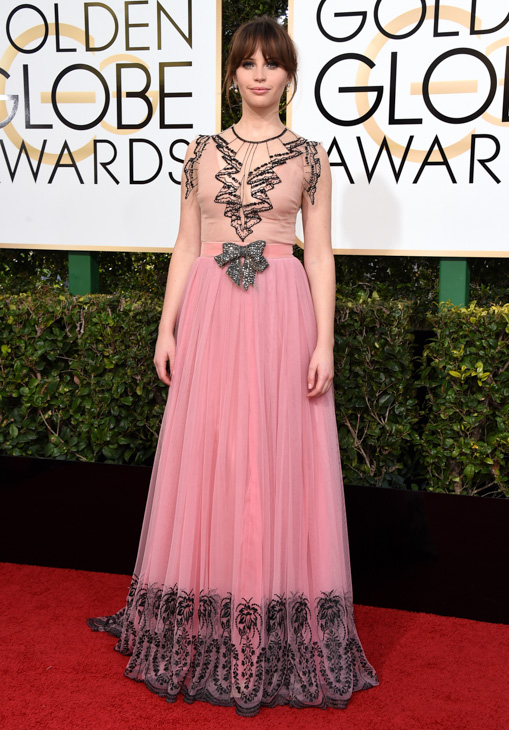 <div class='meta'><div class='origin-logo' data-origin='none'></div><span class='caption-text' data-credit='Jordan Strauss/Invision/AP'>Felicity Jones arrives at the 74th annual Golden Globe Awards at the Beverly Hilton Hotel on Sunday, Jan. 8, 2017, in Beverly Hills, Calif.</span></div>