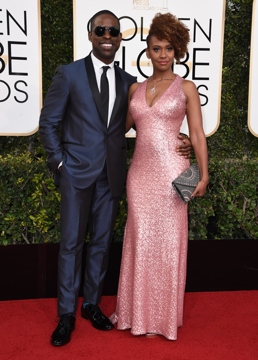 <div class='meta'><div class='origin-logo' data-origin='none'></div><span class='caption-text' data-credit='Jordan Strauss/Invision/AP'>Sterling K. Brown, left, and Ryan Michelle Bathe arrive at the 74th annual Golden Globe Awards at the Beverly Hilton Hotel on Sunday, Jan. 8, 2017, in Beverly Hills, Calif.</span></div>