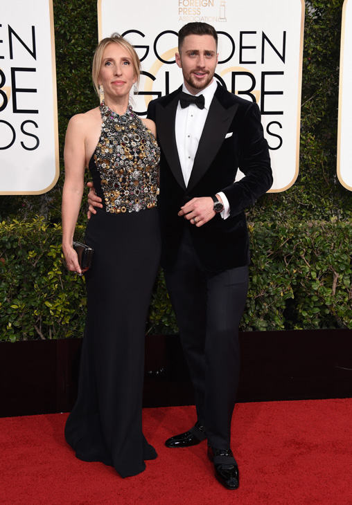 <div class='meta'><div class='origin-logo' data-origin='none'></div><span class='caption-text' data-credit='Jordan Strauss/Invision/AP'>Sam Taylor-Johnson, left, and Aaron Taylor-Johnson arrive at the 74th annual Golden Globe Awards at the Beverly Hilton Hotel on Sunday, Jan. 8, 2017, in Beverly Hills, Calif.</span></div>