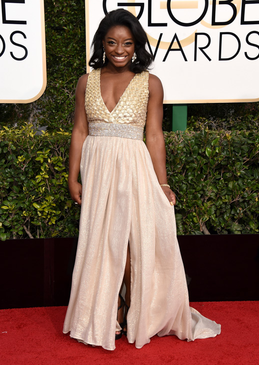 <div class='meta'><div class='origin-logo' data-origin='none'></div><span class='caption-text' data-credit='Jordan Strauss/Invision/AP'>Simone Biles arrives at the 74th annual Golden Globe Awards at the Beverly Hilton Hotel on Sunday, Jan. 8, 2017, in Beverly Hills, Calif.</span></div>