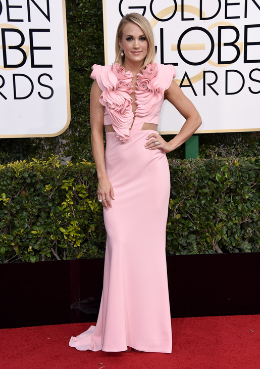 "<div class=""meta image-caption""><div class=""origin-logo origin-image none""><span>none</span></div><span class=""caption-text"">Carrie Underwood arrives at the 74th annual Golden Globe Awards at the Beverly Hilton Hotel on Sunday, Jan. 8, 2017, in Beverly Hills, Calif. (Jordan Strauss/Invision/AP)</span></div>"